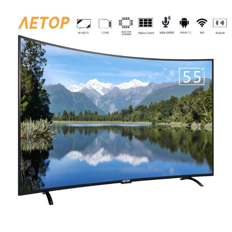 Frete grátis-bluetooth led tela curvada tv 4k hd 55 polegada tv android smart tv com wi-fi
