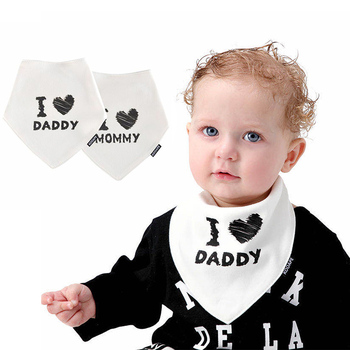 2 Pack Newborn Baby Bib I love Daddy&Mommy Unisex Infant Triangle Bibs&Burp Clothes i love mommy 2 personalized ornament