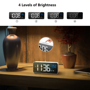 Image 5 - Bedside Wake Up Digital Mirror Led Music Alarm Clock with Snooze Temperature Thermometer Acoustic Voice Control Backlight