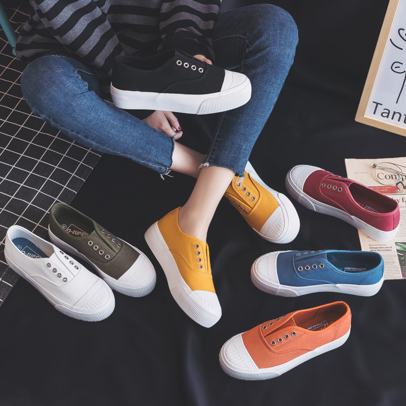 Women Shoes 2019 Summer New Fashion Shoes Woman Casual Solid Candy Color Platform Canvas Women Casual Flats Shoes Sneakers