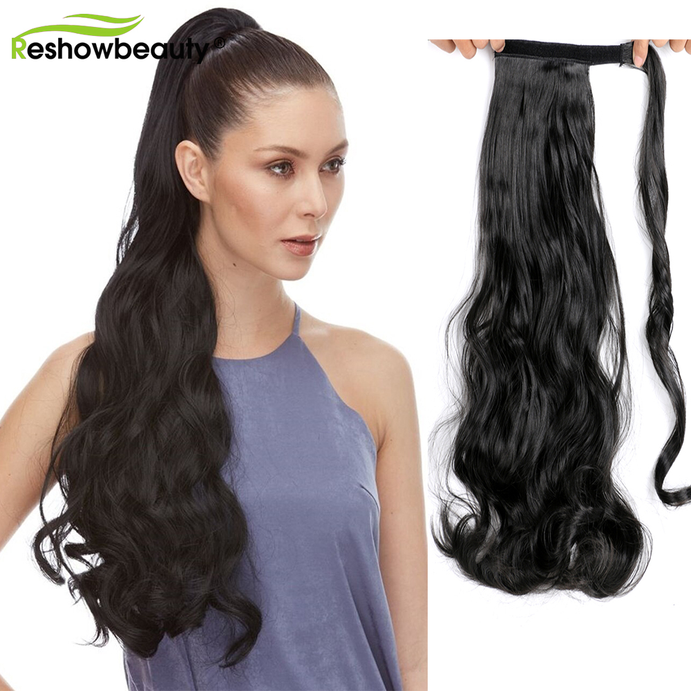 Wig-Wrap Ponytail-Extensions Fake Natural Straight Synthetic Hairpiece Clip-In Long Around