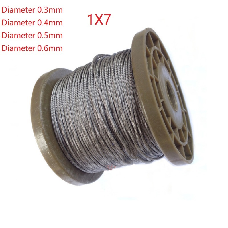 1*7 5 Meter 304 Stainless Steel 0.3mm 0.4mm 0.5mm 0.6mm  Diameter Steel Wire Bare Rope Lifting Cable Line Clothesline