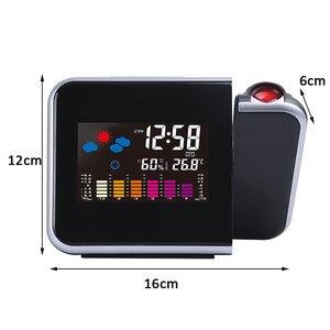 Image 5 - 1 adet yeni projeksiyon çalar saat ile hava istasyonu termometre tarih ekran USB şarj aleti erteleme LED projeksiyon dijital saat