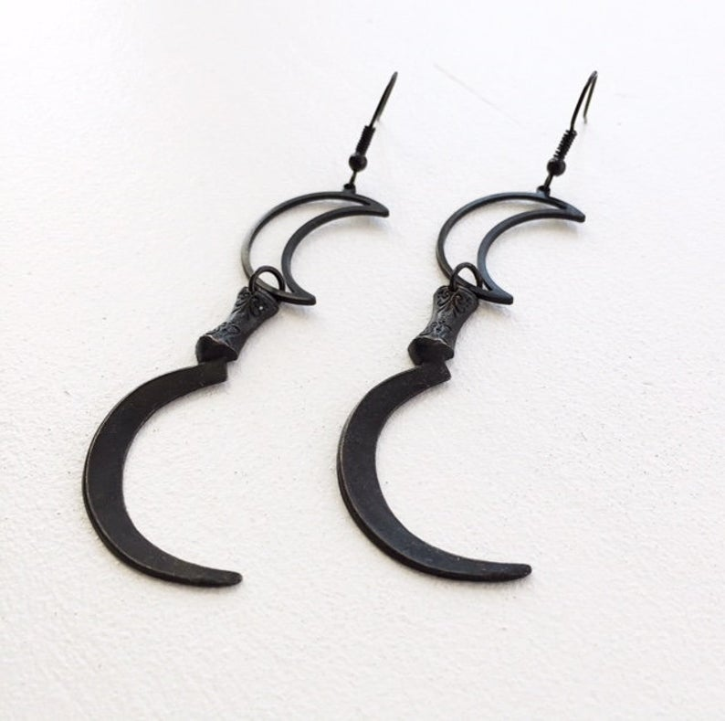 Gunmetal Flying Witch on Broom Full Moon Halloween Earrings Black Niobium Hooks Gothic Witch Jewelry Hypoallergenic 1 34 by 1 HW33