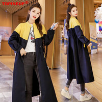 2019 Fashion Hot Patchwork Color Elegant Full Sleeve A Line Women Coats Over Knee Long Slim Leisure Coat