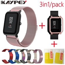3in1 für Xiaomi Huami Amazfit Bip Strap-armband Milanese Edelstahl Smartwatch Armband amazfit bip Screen protector Fall