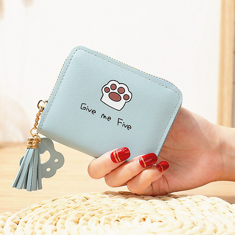 Cat Tassel Womens Mini Leather Wallet Coin Purses Ladies Wallets Money Bag  Female Card Holder Cute Small Wallets Women Purse