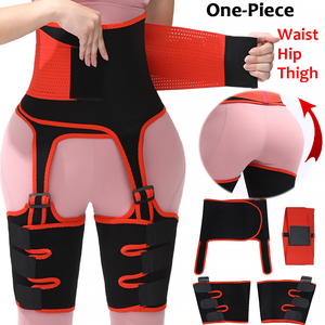 3 in 1 Women High Waist Thigh Trimmer Neoprene Sweat Shapewear Slimming Leg Body Shapers Adjustable Waist Trainer Slimming Belt(China)