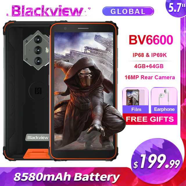 Blackview BV6600 IP68 Waterproof 8580mAh Rugged Smartphone 4GB+64GB 5.7'' Android 10.0 Octa Core 4G NFC Big Battery Mobile Phone 1