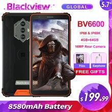 Blackview bv6600 ip68 impermeável 8580mah áspero smartphone 4gb + 64gb 5.7 android android android 10.0 octa núcleo 4g nfc grande bateria celular