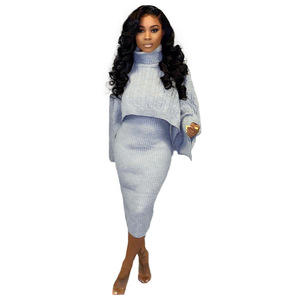 Image 3 - Autumn Winter 2020 Outfits Tracksuit Knit Women Sets Elegant Turtleneck Sweater and Sleeveless Dress Sexy Two Piece Set Femme