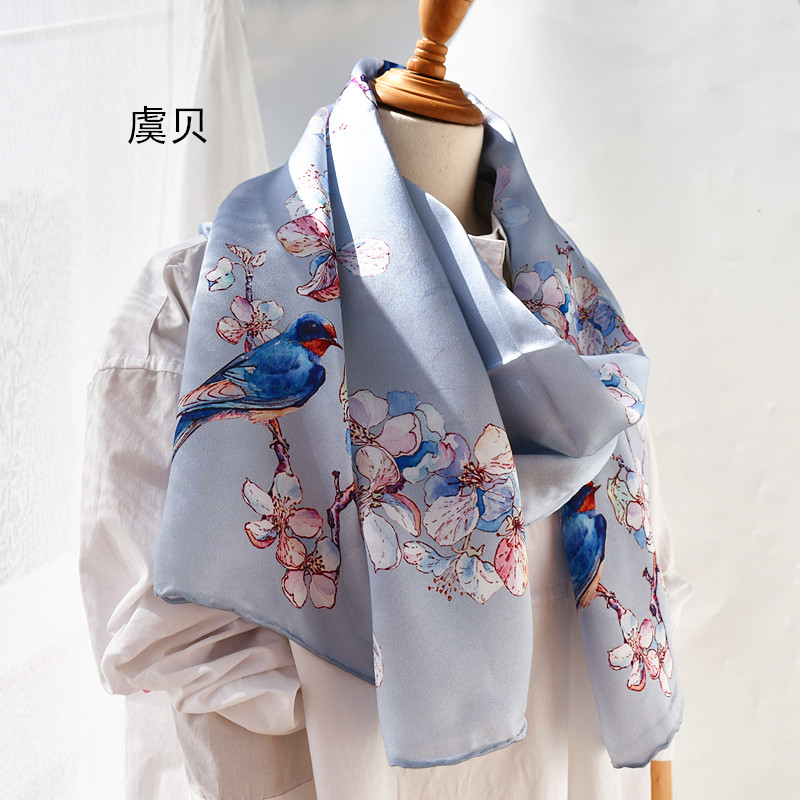 Chinese classic silvery natural silk scarf with printed magpie for women 100% real silk high quality scarves shawl gift for lady|Women's Scarves| - AliExpress
