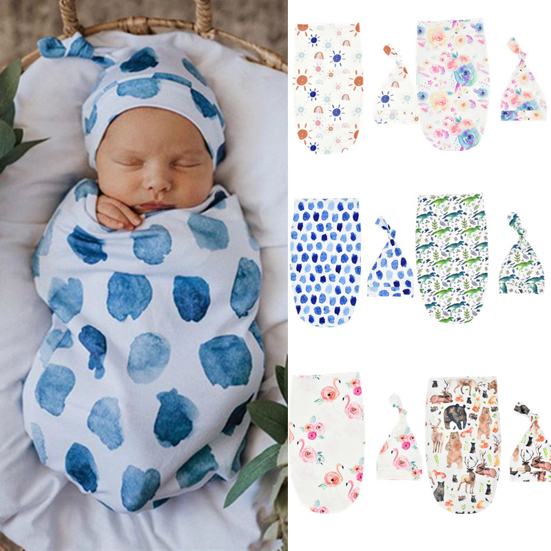 2Pcs Newborn Baby Swaddle Blanket Sack Baby Cotton Swaddle Wrap Infant Cute Cartoon Sleeping Bags With Matching Top Knot Hats