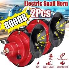 Universal 800db alto chifre de ar do carro 12v trompete super trem chifre para caminhões veículo chifre duplo-tom elétrico caracol buzina de ar apito