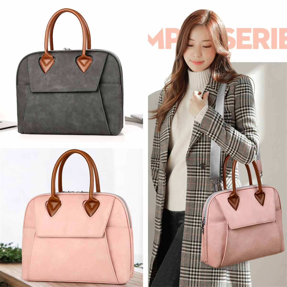 New Women Leather Handbags Ladies Briefcase Computer Bag File Package Female Shoulder Messenger Bag 15.6 Inch Laptop Briefcases
