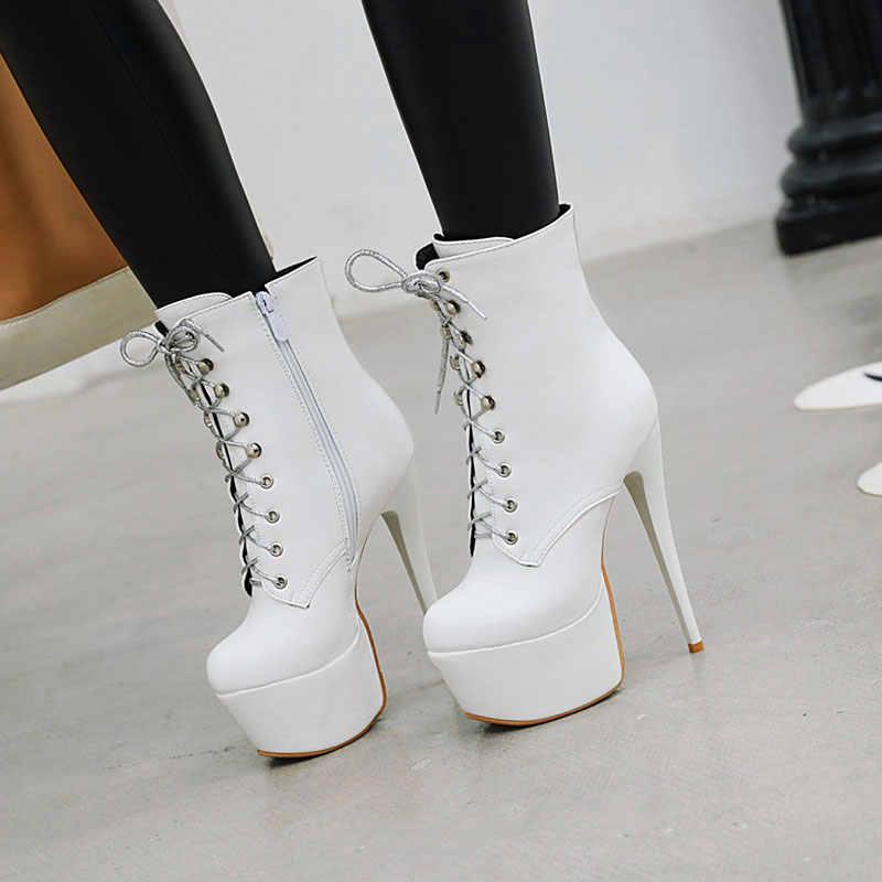 Lasyarrow 16cm talon extrême talon haut brevet bottines à lacets sexy fétiche pôle danse plate-forme bottes dames chaussures de fête femme