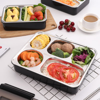 Happy Fish Square Lunch Box 304 Stainless Steel Insulated Container Students Septated Office Workers Seperated Canteen