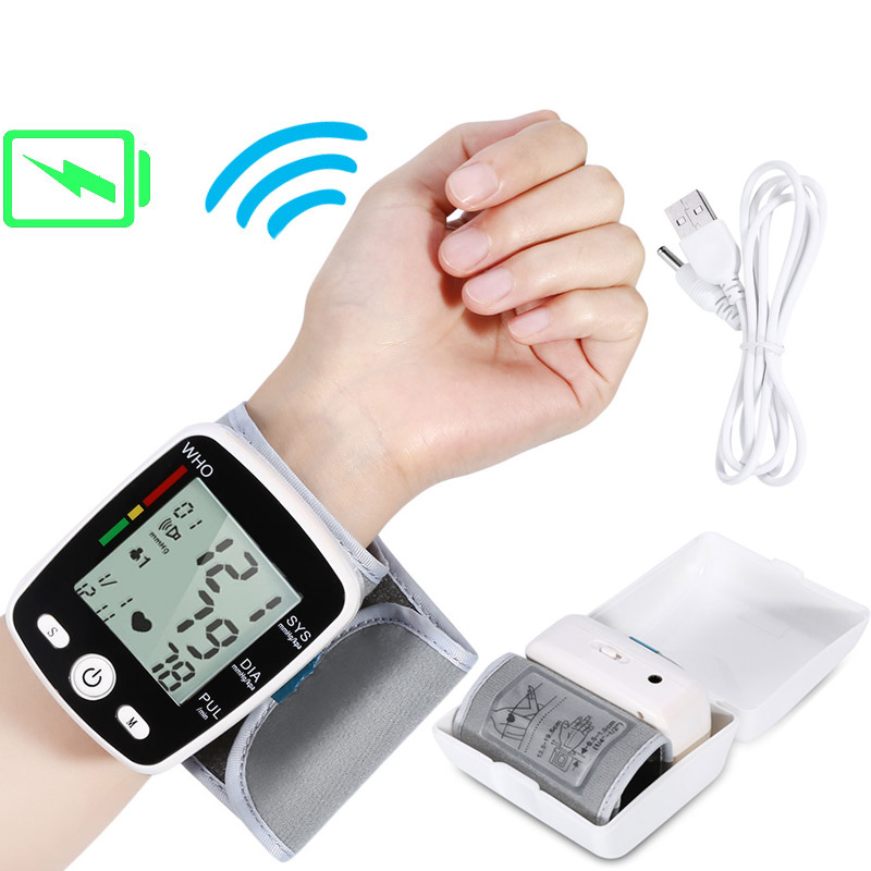 Tonometer Rechargeable BP Sphygmomanometer Blood Pressure Automatic LCD Wrist Blood Pressure Monitor Heart Beat Rate Pulse Meter