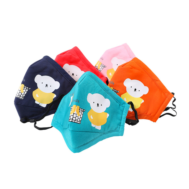 Kids Children Cotton Anti-Dust Face Mouth Mask Cartoon PM2.5 Protective Respirator Reusable Anti Fog Anti Flu Masks with Filters 1