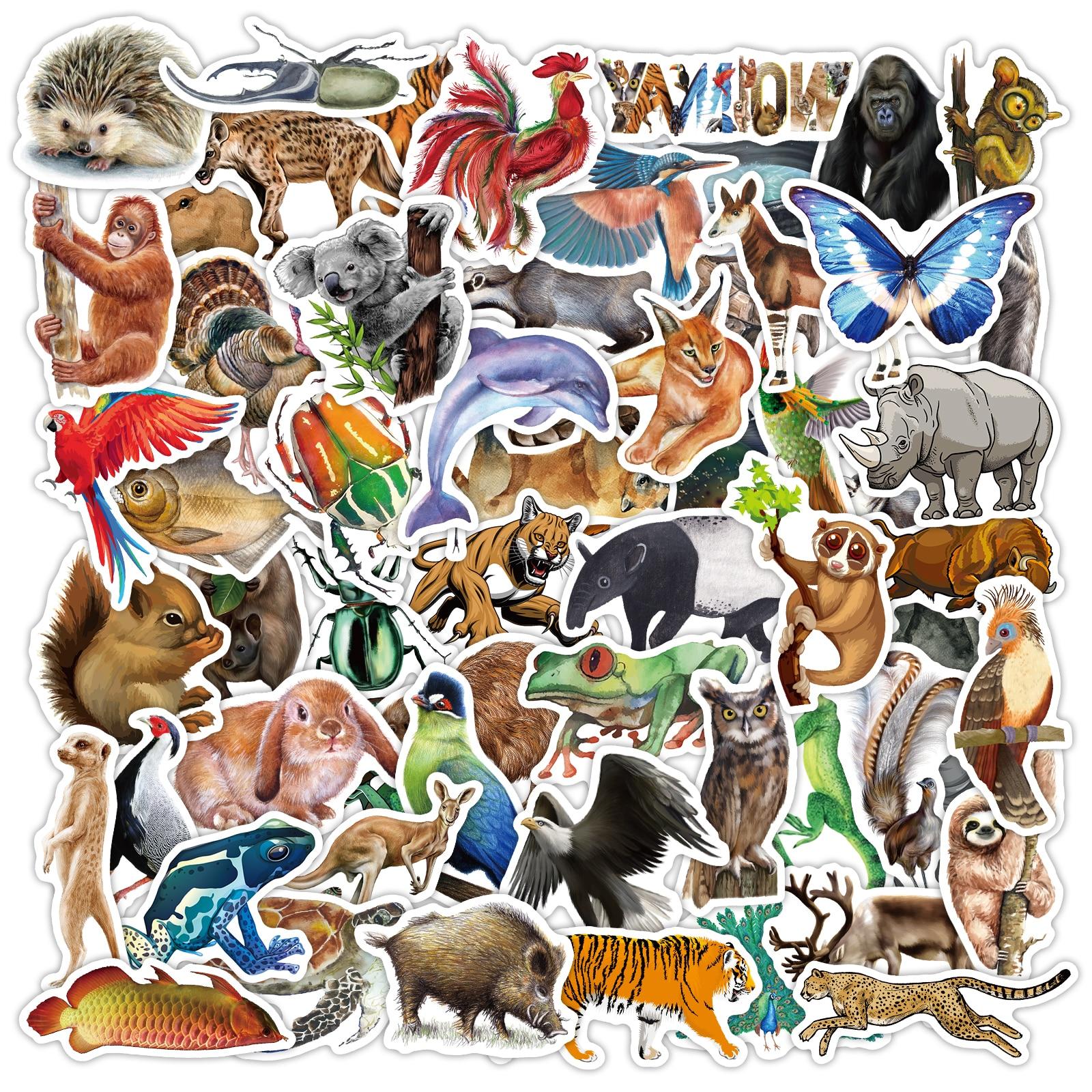 80 tropical floresta tropical animais adesivos bonito tigre coelho preguiça para portátil carro mala skate garrafa de água decalque do miúdo brinquedo