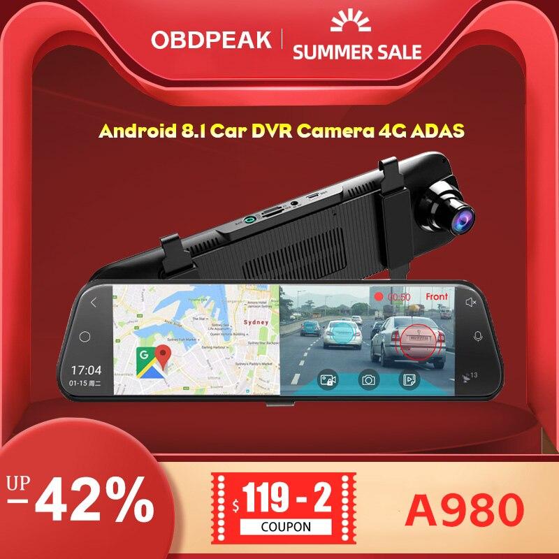 Android 8.1 Macchina Fotografica Dellautomobile DVR 4G ADAS 10 Pollici Media Streaming Specchietto retrovisore 1080P WiFi GPS Dash cam Registrar Video Recorder Dvr