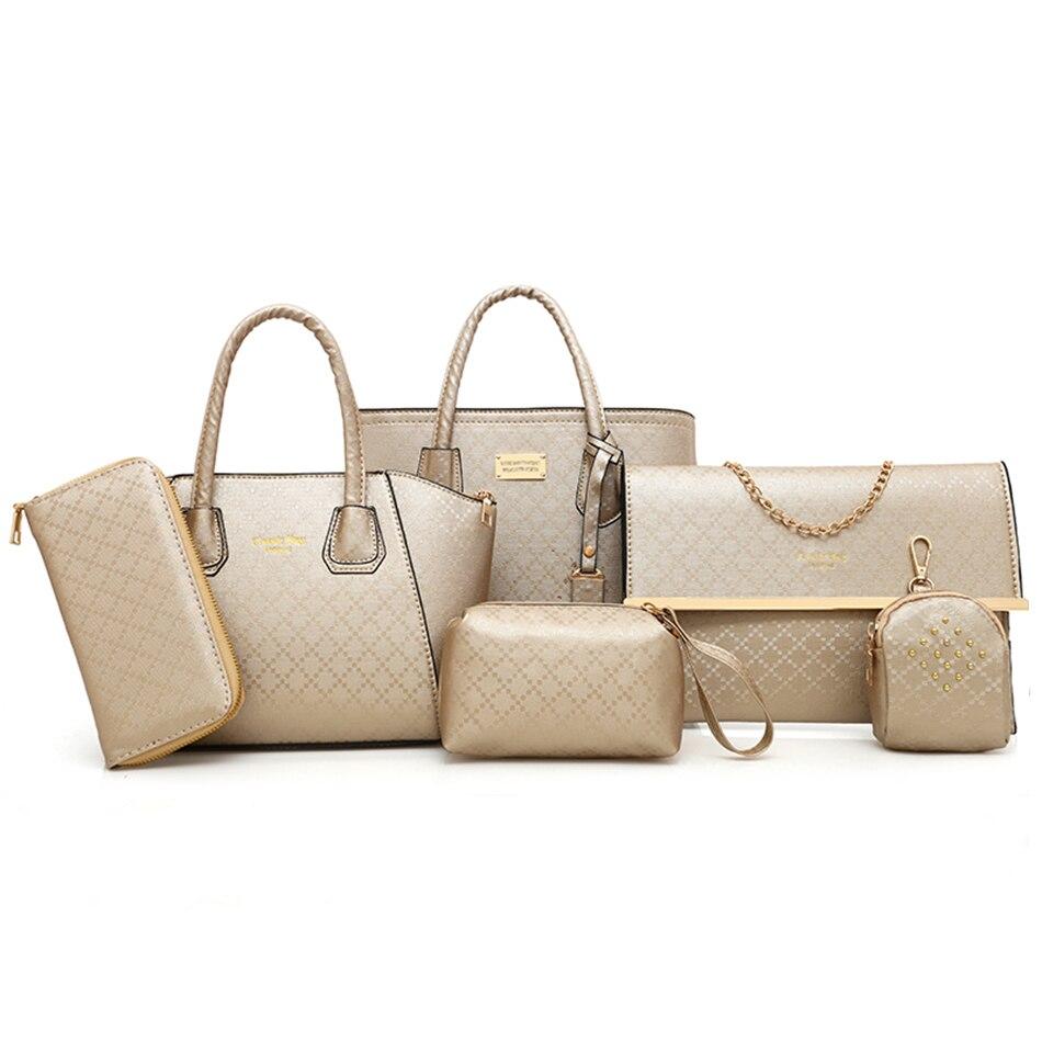 6pcs Women Handbag Set Luxury Leather Chain Shoulder Bag Crossbody Bags For Women 2019 Plaid Clutch Purse handbags Bolsafeminina