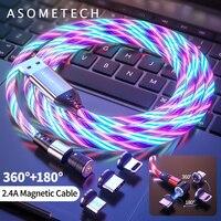 Cable magnético de luz LED que brilla en la rotación del 540, Cable Micro USB tipo C, Cable de carga rápida para iPhone, Huawei, Samsung, Xiaomi