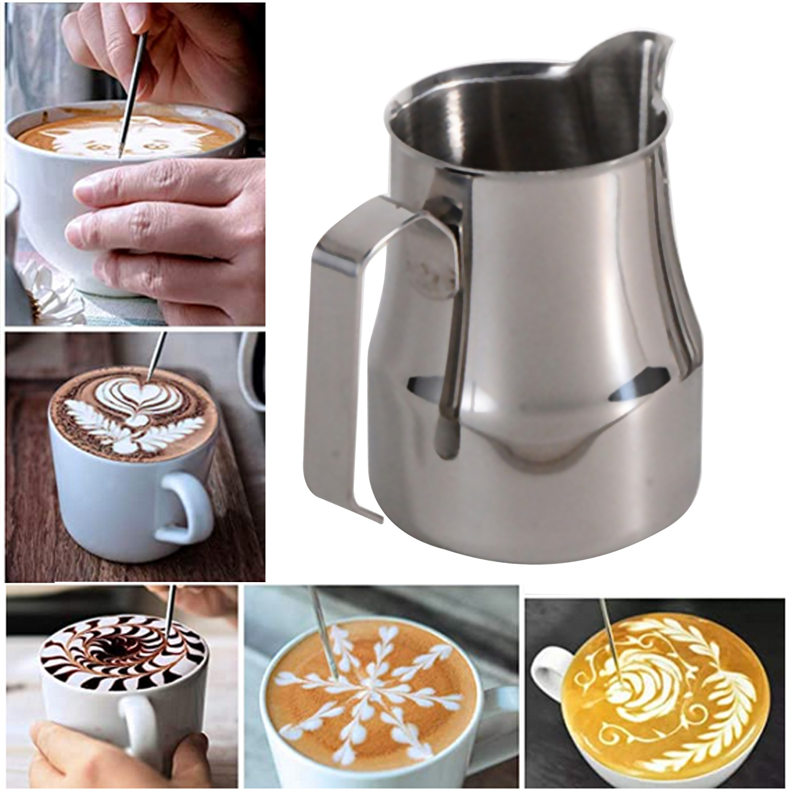304 Stainless Steel Milk Frothing Pitcher 350ml Milk Coffee Steam Pitchers Suitable for Espresso Latte Art Frothing Milk