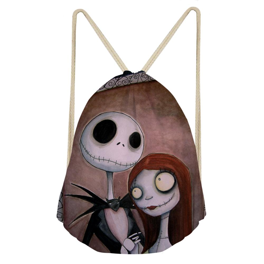 Customized Draw String Backpacks Women Travel Softback Girls Schoolbag Drawstring Bag Jack & Sally Nightmare Before Christmas