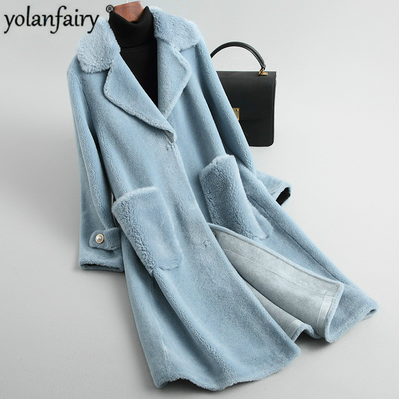Real Fur Coat Women Clothes 2020 Autumn Winter Long Wool Jacket Red Korean Women's Coats Manteau Femme KQN19017 KJ2329