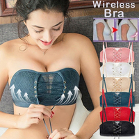 Seamless Sexy Bras For Women Push Up Bra Wire Free Lingerie Strapless Drawstring Bra Solid color Lace Adjustable Bralette