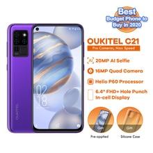 "OUKITEL C21 6.4 ""נייד טלפון Helio P60 אוקטה Core Smartphone 4GB + 64GB 4G Celular נייד 16MP Quad מצלמות אנדרואיד 10 4000mAh"
