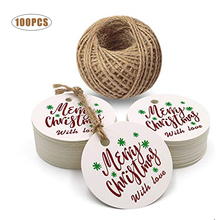 100PCS Merry Christmas with Love Cards for Party Gift Decoration Hang Tags Home Tree Items Round Wrap Labels
