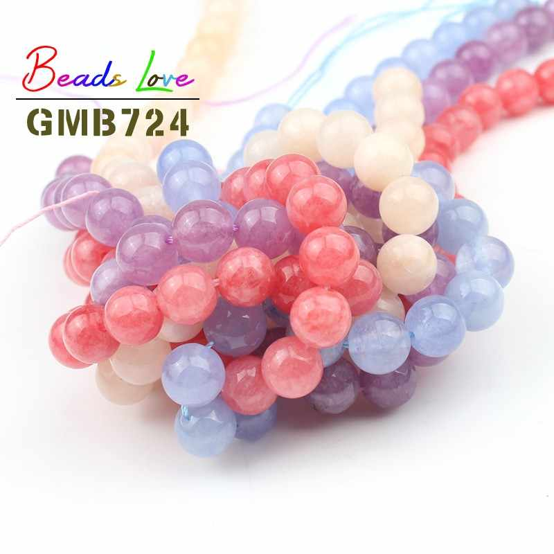 Wholesale Natural Blue Pink Angelite Stone Round Beads For Jewelry Making DIY Bracelet Necklace Beadwork 4 6 8 10 12mm 15 Inches