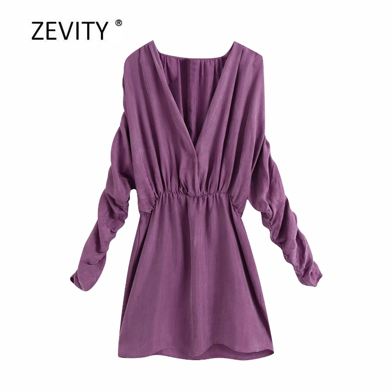 New 2020 women solid color pleated long sleeve mini dress female v neck elastic waist casual slim vestidos chic dresses DS4102