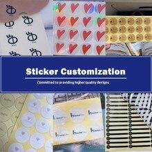 100Pcs Big size custom sticker logo text QR code printing special size and shape customization