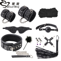 Print 10pcs / set Sex Products Erotic Adult Toys BDSM Sex Bondage Set Handcuff Nipples Clamps Gag Whip Rope Sex Toys for Couples