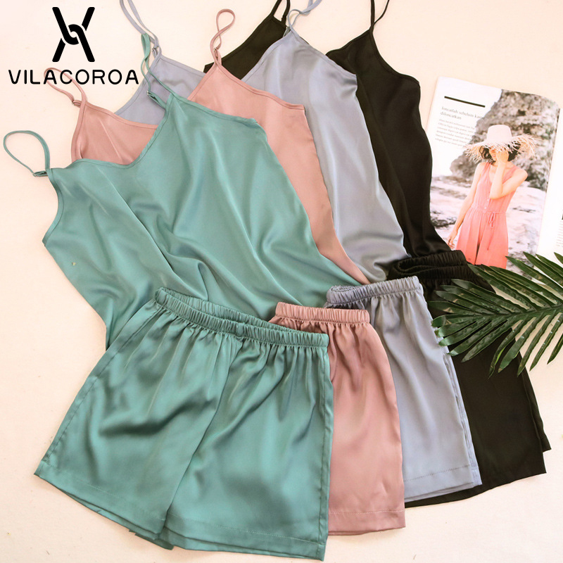 Summer Sexy Sleepwear Solid Color Imitation Silk V-Neck Camis + Shorts 2 Piece Sets Women Pajamas Set Comfortable Pajamas