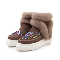 Women's Genuine Leather Embroidery National Style Platform Ankle Boots Warm Fur Angola Snow Boots Fashion Sneakers