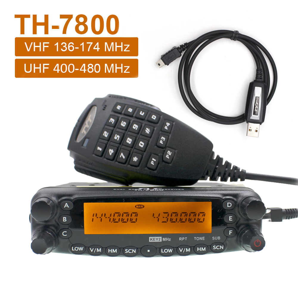 TYT TH-7800 Walkie Talkie 50W Dual Band 136-174 & 400-480MHz Mobile Radio Station Amateur Radio Communciator FM Transceiver