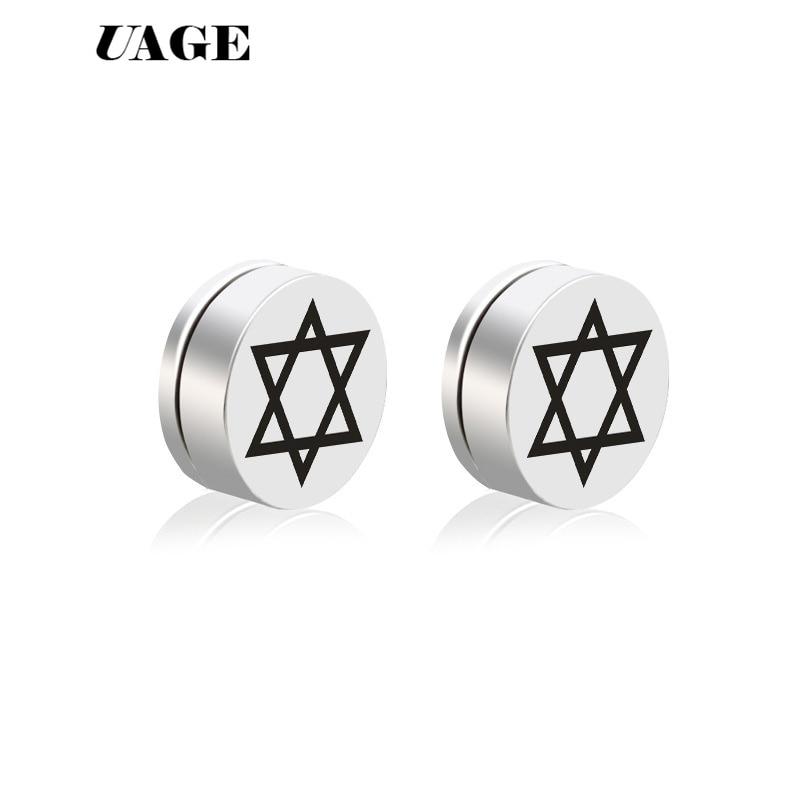 pair Stainless Steel 2 Color Star of David Circle Stud Earrings