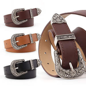 Jeans Dress Belt Waistband Buckle Vintage Casual Fashion Women's PU P78 Carved-Pin