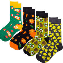 Goocheer 2019  Autumn New 4 Pair /Bag Printed Cheese Trend Funny Animal Mens Socks Fruit Womens Pink socks Chicken