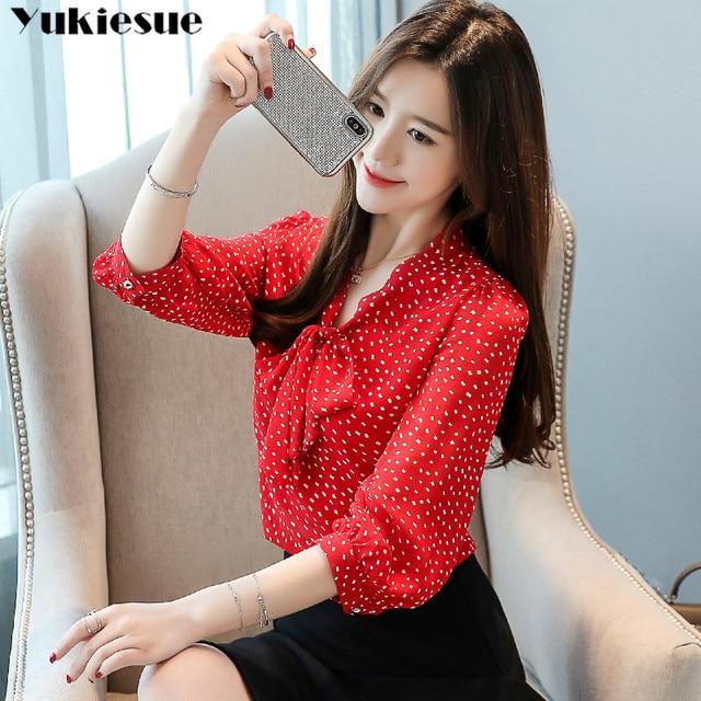 chiffon dot blouse femme shirt women blusas shirts 2019 summer long sleeve elegant ladies top womens blouses and tops Plus size 5