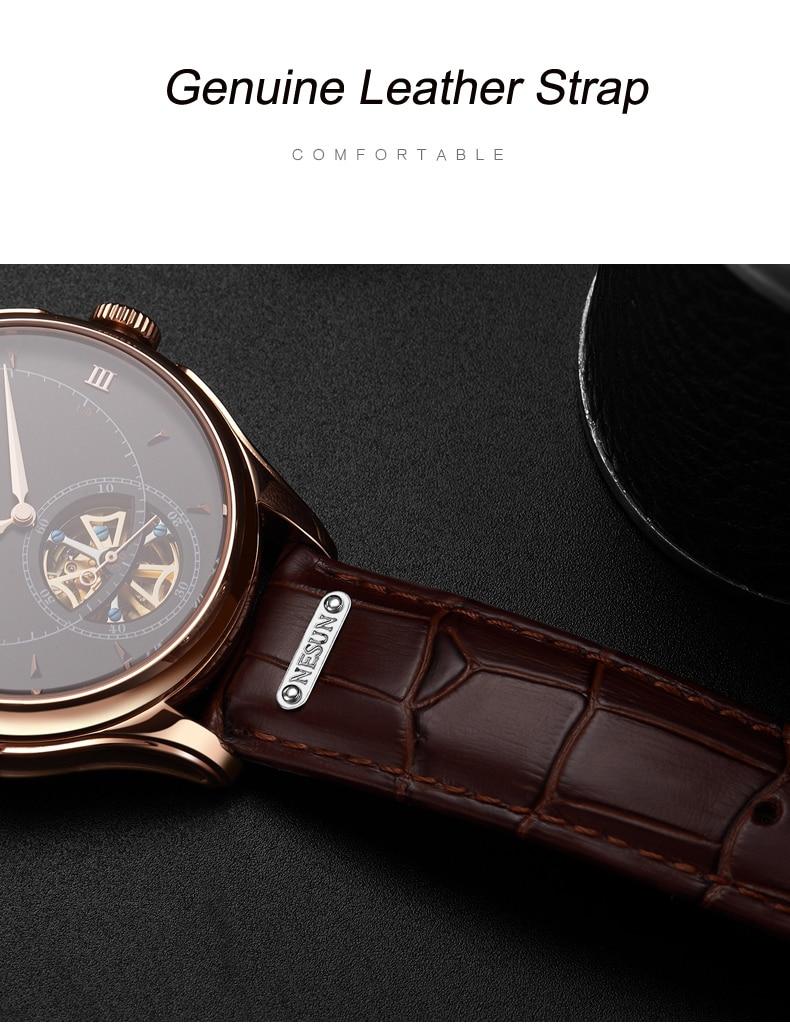 Nesun Tourbillion Automatic Mechanical Skeleton Watch