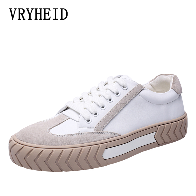 VRYHEID 2020 Men Shoes Spring Autumn Casual Genuine Leather Flat Shoes Lace-up Low Top White Male Sneakers Tenis Masculino Shoes