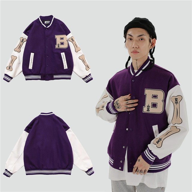 2020 hip hop streetwear baseball jacket coat letter B bone embroidery Stand-up collar japanese streetwear bomber college jacket 5