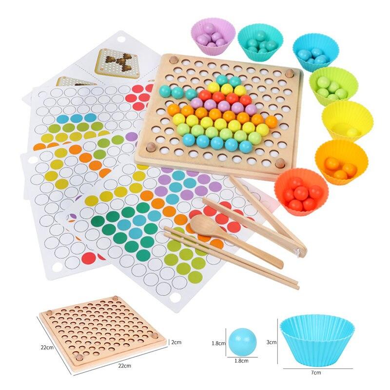 Kids Wooden Montessori Toys Memory Match Stick Educational Color Cognitive Geometric Shape Puzzles Toys For Children 35