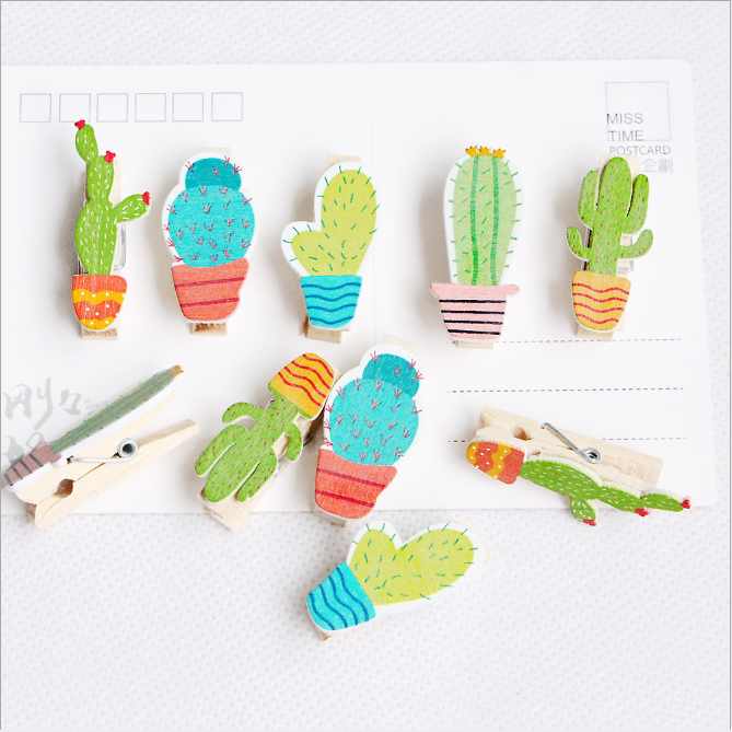 10PCSPack Mini Wooden Photo Wall Decoration Paper Peg Pin Craft Manual Postcard Clip Pendant Cute Girl Wedding Gift-giving