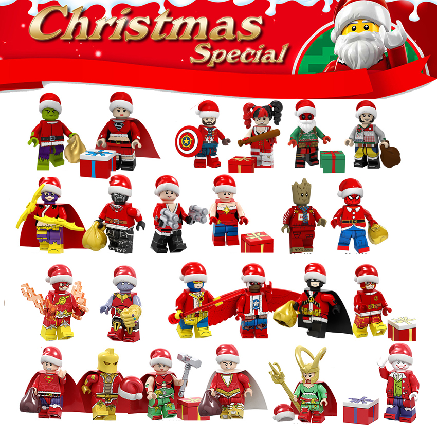 24PCS/LOT Collectible Super Heroes Building Blocks Legoinglys Christmas Santa Claus Minifigured Brick Toys For Children Gift
